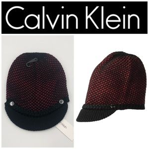Calvin Klein Red & Black Honeycomb Cabbie Hat